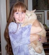 Team member Carol with her cat Puddy